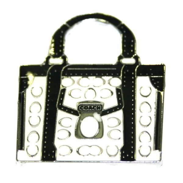 1pce x 38*33mm Rhodium plated black white with large size handbag enamel charm - SD03 - CHE1103